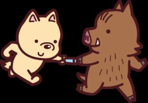 犬2イノシシ